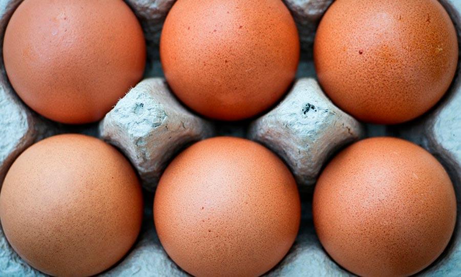 Caja de huevos frescos