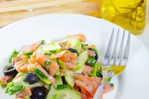 Salmon salad (4 people – 20')