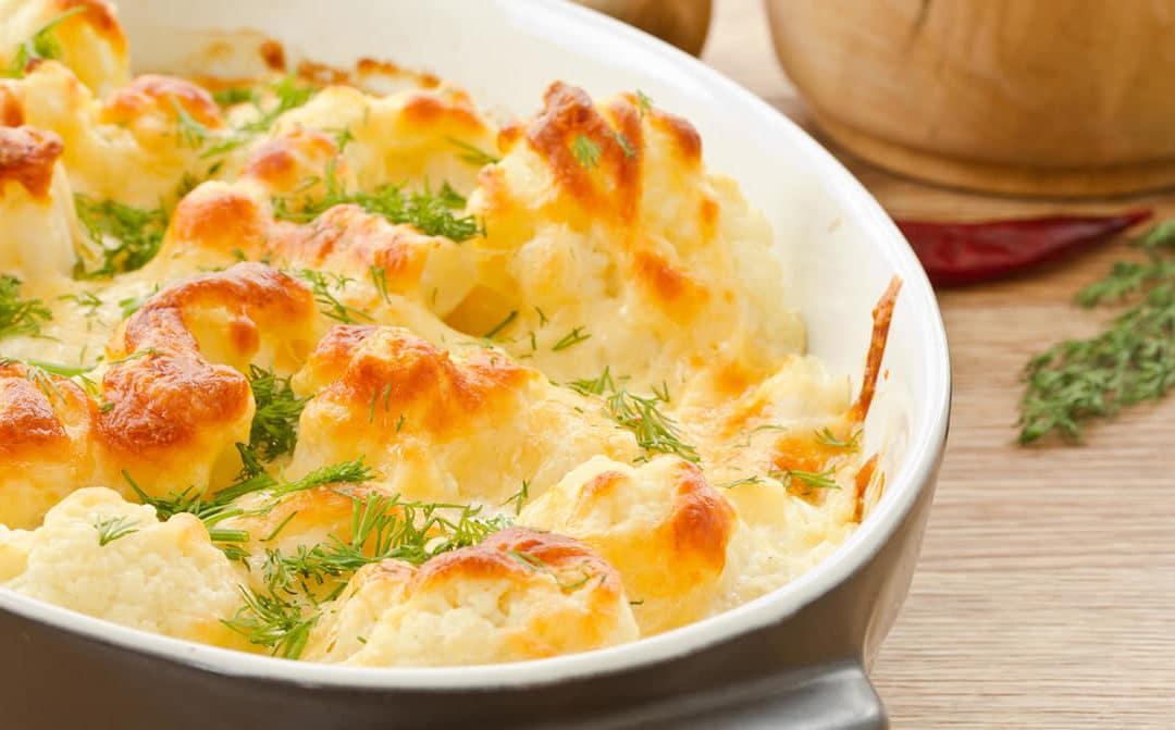 Gratinado de coliflor y espinacas con queso azul